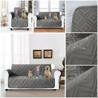 1/2/3 Seater Quilted Sofa Cover Furniture Protector Throw WATER PROOF With STRAP
