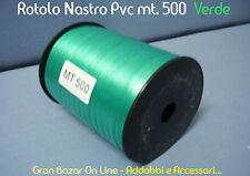 NASTRO da REGALO e per PALLONCINI VERDE 500 mt. 5mm PVC LUCIDO RESISTENTE DECORA