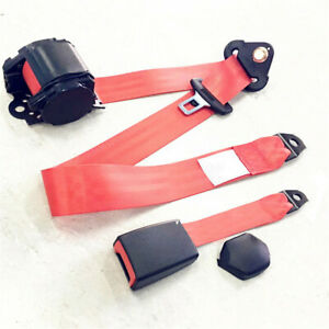 Car Front Seat Belt Buckle Kit Automatic Retractable Safety Straps Seatbelt Red