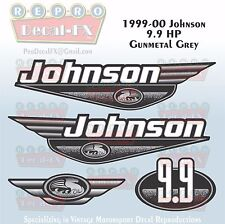 1999-00 Johnson 9.9HP Gunmetal Grey Outboard Reproduction 4Pc Marine Vinyl Decal