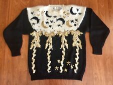 Eagles Eye Celestial Sweater Moons Stars Bows Metallic Fuzzy Knit Art To Wear 3D