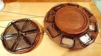 mid century danish design 2x teak serving tray Denmark Karussel Tablett Schalen