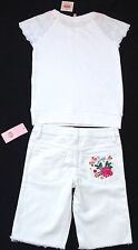NWT Juicy Couture New White Cotton Canvas Shorts With Logo & T-Shirt Girls Age 8