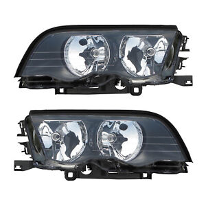 Halogen Front Headlights Pair Set for 99-01 BMW 3 Series E46 Sedan Left & Right
