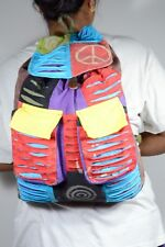 Razor cut Ripped Colorful Hippie Backpack