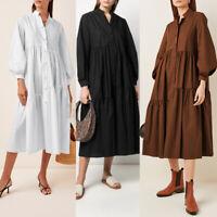 ZANZEA UK Womens Long Sleeve Casual Loose Tiered Layered Button Down Shirt Dress