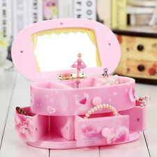 Childrens Girls Pink Ballet Dance Music Jewellery Storage Box Gift With Mirror