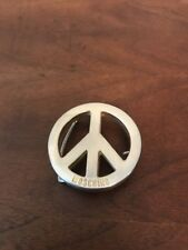 VINTAGE MOSCHINO PEACE SILVER HARDWARE BELT BUCKLE MENS WOMANS HIPPIE
