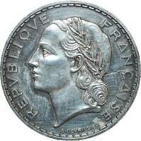 S7760 France Very Rare 5 Francs Lavrillier 1933 Argent PCGS UNC SPL