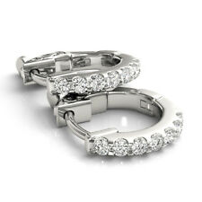 1.40 Ct Genuine Natural Round Diamond Earrings Real 14K White Gold Hoop SI1/I-J
