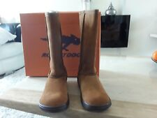 Rocket Dog Sugardaddy Women's Chestnut Mid Calf Pull On Suede Boots New uk3