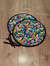 Pair of Aga Hob Lid Covers with straps Black Pink Blue Turquoise