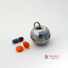 Figural Apple Pill Box Sterling Silver