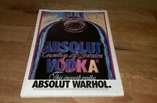 Vintage 1994 Absolut Andy Warhol Vodka Distillery ad on Board Ready To Be Framed
