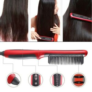Electric 2 IN 1 Heat Comb Hair Straightening Hot Comb Straight Iron Heated Brush