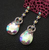 Betsey Johnson AB Crystal Rhinestone Heart Teardrop Stud Earrings