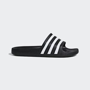 Adidas F35543 Men Swim Slippers Adilette Aqua Sandals black white