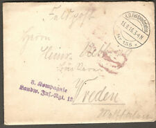 WWI 1916 Germany Military Infantry Regiment FELDPOST / Field Post  Postal Cover