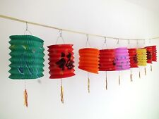 6 M COLOR RED BLA LUCK PAPER LANTERN 2.5M GARLAND BUNTING CHINESE JAPANESE PARTY