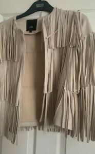 River  Island Faux Suede Tassel Jacket, Size 10 in excellent conditions beige