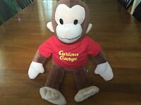 Applause CURIOUS GEORGE Plush MONKEY Large Classic Red Shirt Stuffed Animal Toy