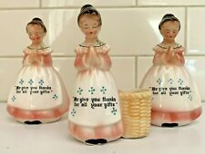 Vintage China Girls Ladies Praying Salt & Pepper Shakers and Toothpick Holder