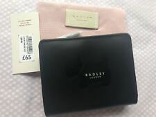 Radley 'Large Emboss Dog' Black Leather Tab Purse BNWT RRP £65 With Dust Bag