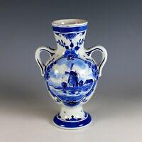 Vintage Hand-painted Porceleyne Fles Delft Blue Windmill Vase