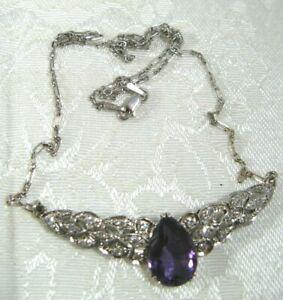 "ESTATE 14K Gold 4.95CT AMETHYST .60CT Diamond VS 16.25"" Necklace Italy Handmade"