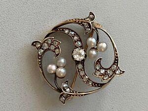 Broche Or Argent Diamants Perles