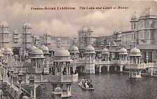 LONDON 1908 FRANCO BRITISH EXHIBITION LAKE& COURT OF HONOR~SWAN BOAT POSTCARD