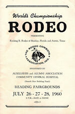 1960 Program World Championship Rodeo Held at Reading Pa Fairgrounds Local Ads