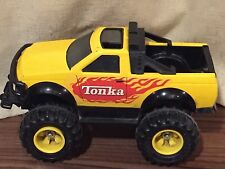 "Yellow Tonka Pickup Truck with Flames. 13"". 1999 Pressed Steel Vehicle. Vintage."