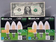 6 pack B10 LED Light Bulbs 2700k 40W 300L Equivalent C12 E12 Candelabra Dimmable
