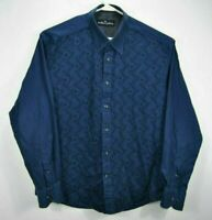 Malibu Cowboy Mens XL Western Shirt Blue Geometric Long Sleeve Button Up Cotton