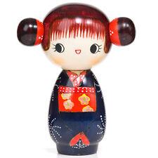 Blue Happy Girl Kawaii Kokeshi Doll