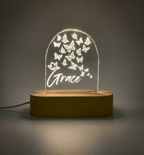 Custom butterfly name Acrylic USB lamp for boys or girls - butterflies
