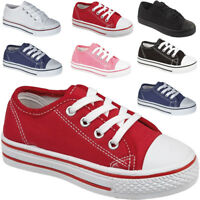 BOYS KIDS LACE UP CANVAS TRAINERS CASUAL CHILDREN'S SCHOOL SPORTS SHOES
