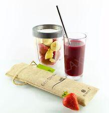 BUNKOZA® Eco Straws Smoothie - Stainless Steel Smoothie Shake  + Cleaner 4pk