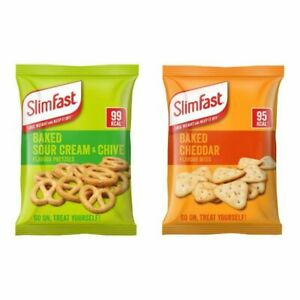 Slim Fast Snack Bags - 6 Baked Sour Cream & Chive Pretzels And 6 Cheddar Bites