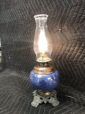Vintage Unique GWTW Gone With The Wind Hurricane Table Lamp Brass Blue Gold