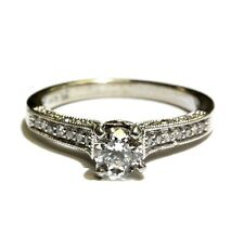 GIA Certified SI2 E 14k white gold .78ct round diamond engagement ring 3.6g 6.75