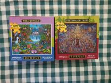 Lot of 2 Complete 1000 pc DOWDLE Wild Jungle & Festival of Trees JIGSAW PUZZLE