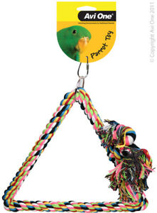Avi One Triangle Rope Swing Parrot toy Hanging Fun Budgie Finch Canary Conure