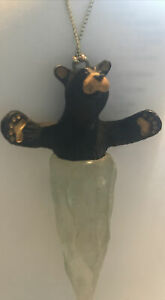 """Big Sky Carvers black Bear Icicle Christmas Ornament Frosted Ice 4"""" Jeff Fleming"""