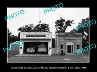 OLD LARGE HISTORIC PHOTO OF SPEED NORTH CAROLINA, THE FIRE STATION & PO c1960