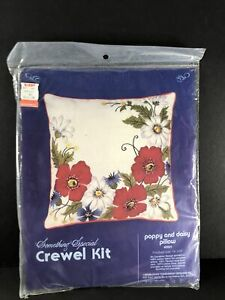 Candamar Something Special Poppies And Daisy Pillow Needlepoint Kit Floral NOS