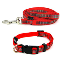 Red Tartan Puppy Dog Collar and Lead Set