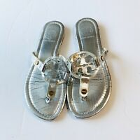 Tory Burch Miller Metallic Silver Smooth Leather Sandals Size 8 M