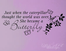 BUTTERFLY CATERPILLAR FLOWER WALL DECAL LETTERING QUOTE vinyl sticker ART HOME